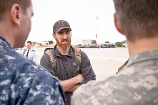 The Nationals first baseman Adam LaRoche chats with troops stationed in Souda Bay, Greece during the 2013 Chairman USO Holiday tour December 7. An avid supporter of troops and their families, this is LaRoche's first USO tour. (Mike Clifton/USO)
